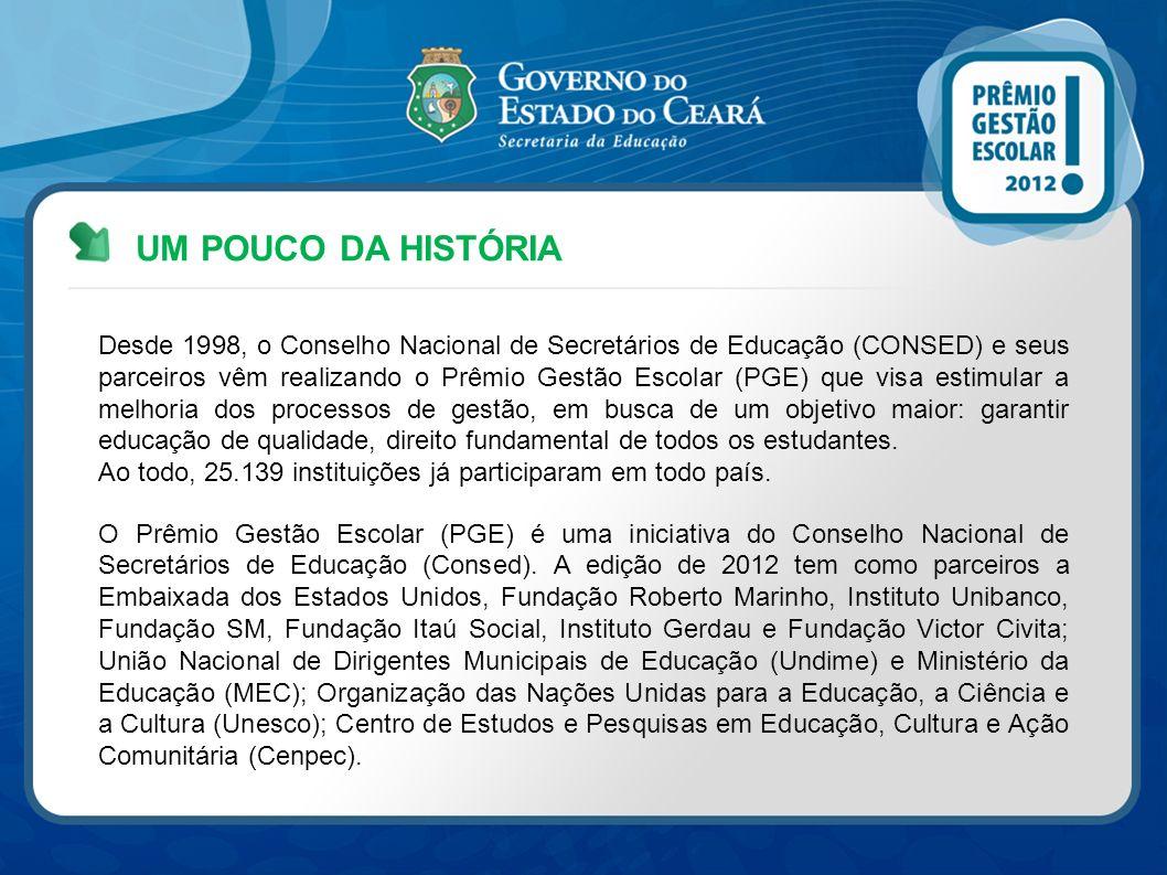 UM POUCO DA HISTÓRIA Desde 1998, o Conselho Nacional de Secretários de Educação (CONSED) e seus parceiros vêm realizando o Prêmio Gestão Escolar (PGE)