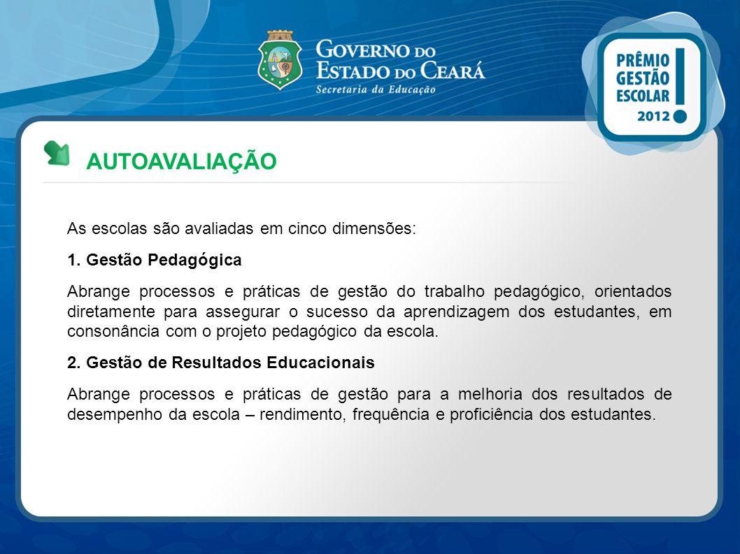 AUTOAVALIAÇÃO As escolas são avaliadas em cinco dimensões: 1. Gestão Pedagógica Abrange processos e práticas de gestão do trabalho pedagógico, orienta