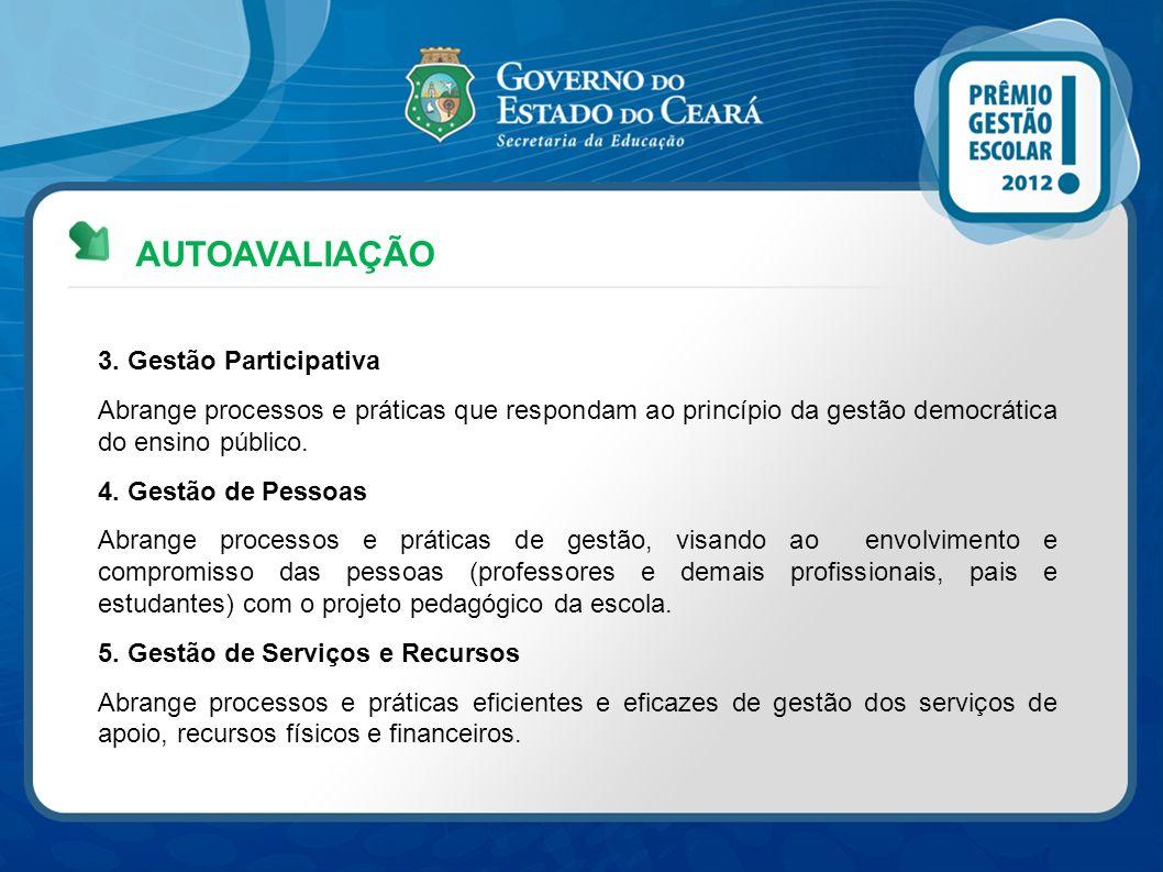 AUTOAVALIAÇÃO 3. Gestão Participativa Abrange processos e práticas que respondam ao princípio da gestão democrática do ensino público. 4. Gestão de Pe