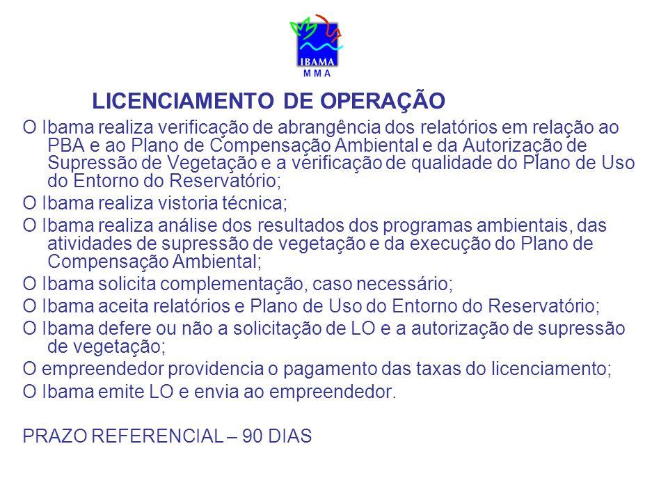 M M A LICENCIAMENTO DE OPERAÇÃO O Ibama realiza verificação de abrangência dos relatórios em relação ao PBA e ao Plano de Compensação Ambiental e da A
