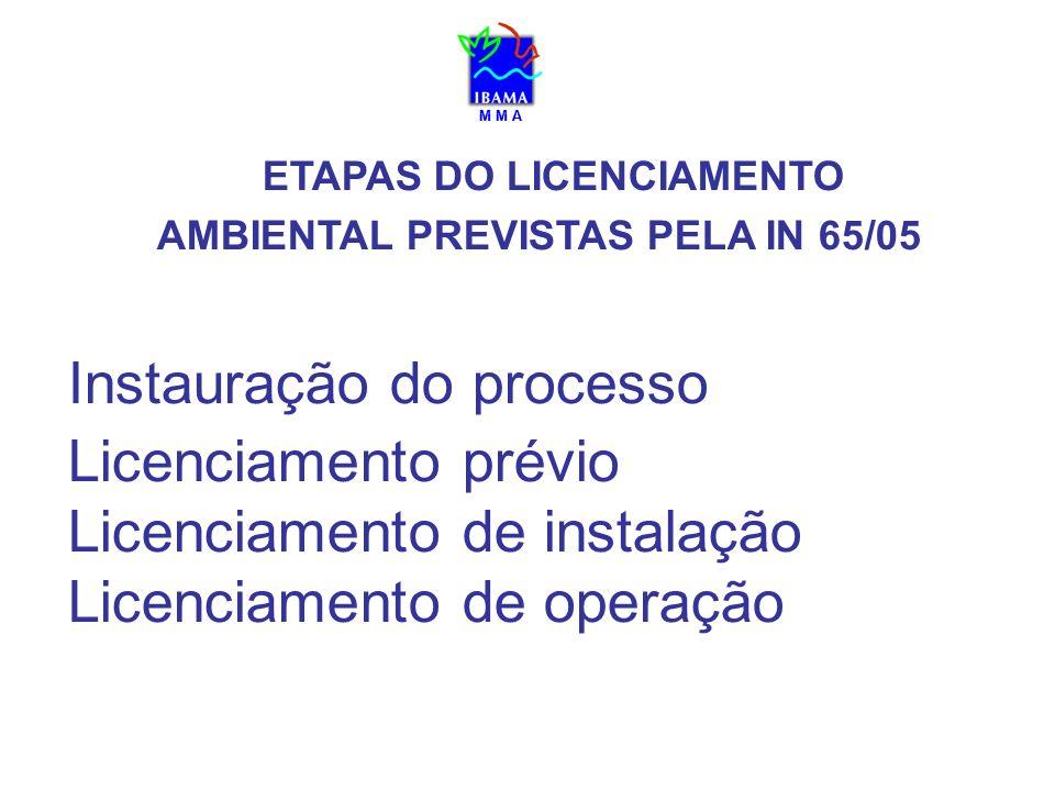 ETAPAS DO LICENCIAMENTO AMBIENTAL PREVISTAS PELA IN 65/05 Instauração do processo Licenciamento prévio Licenciamento de instalação Licenciamento de op