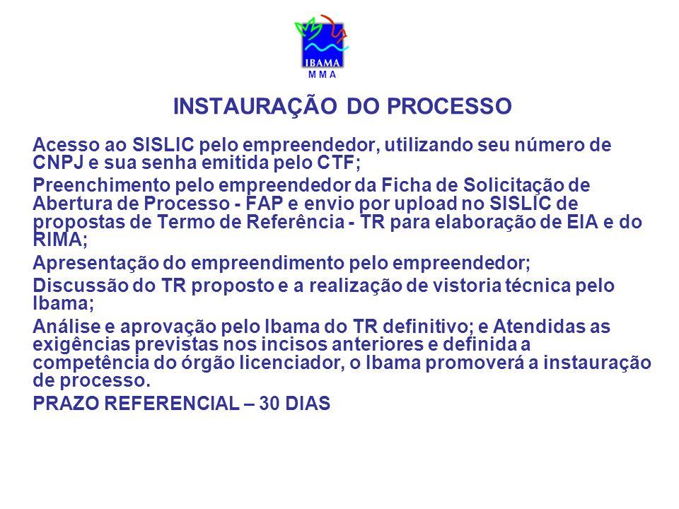 INSTAURAÇÃO DO PROCESSO Acesso ao SISLIC pelo empreendedor, utilizando seu número de CNPJ e sua senha emitida pelo CTF; Preenchimento pelo empreendedo