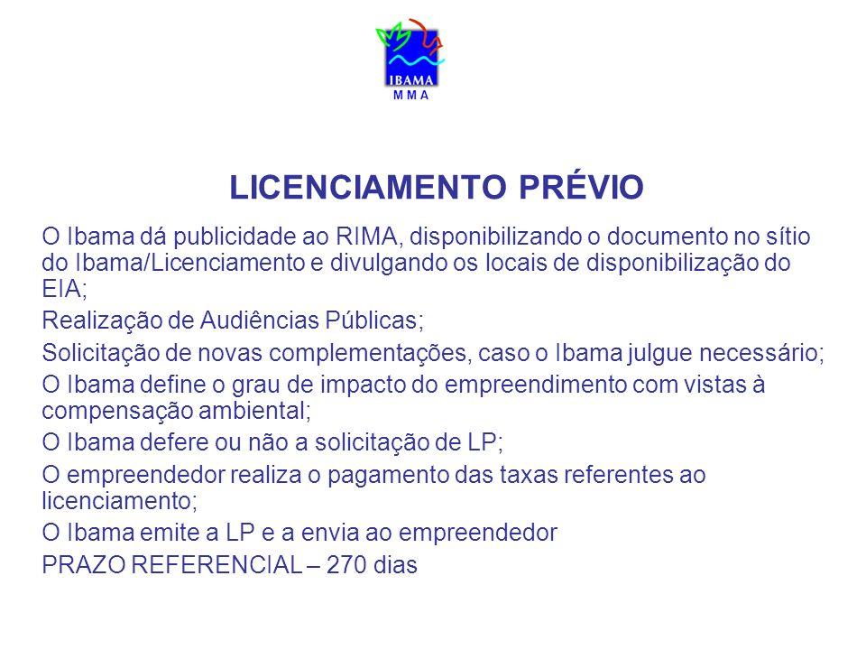 M M A LICENCIAMENTO PRÉVIO O Ibama dá publicidade ao RIMA, disponibilizando o documento no sítio do Ibama/Licenciamento e divulgando os locais de disp