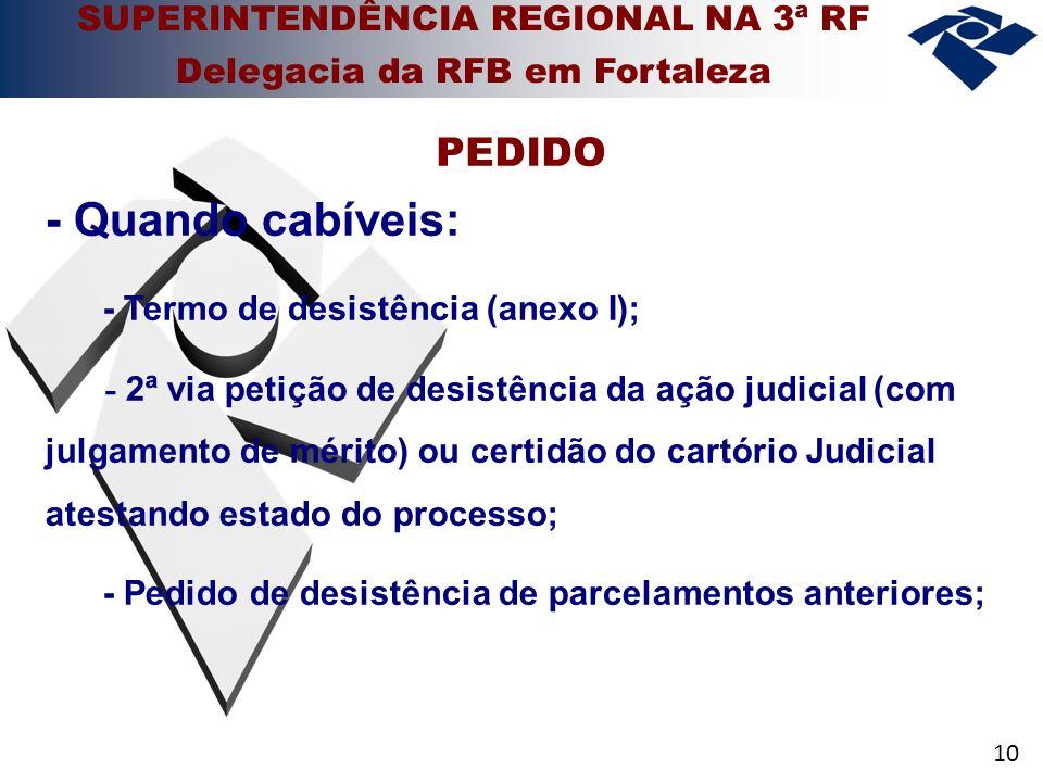 10 - Quando cabíveis: - Termo de desistência (anexo I); - 2ª via petição de desistência da ação judicial (com julgamento de mérito) ou certidão do car