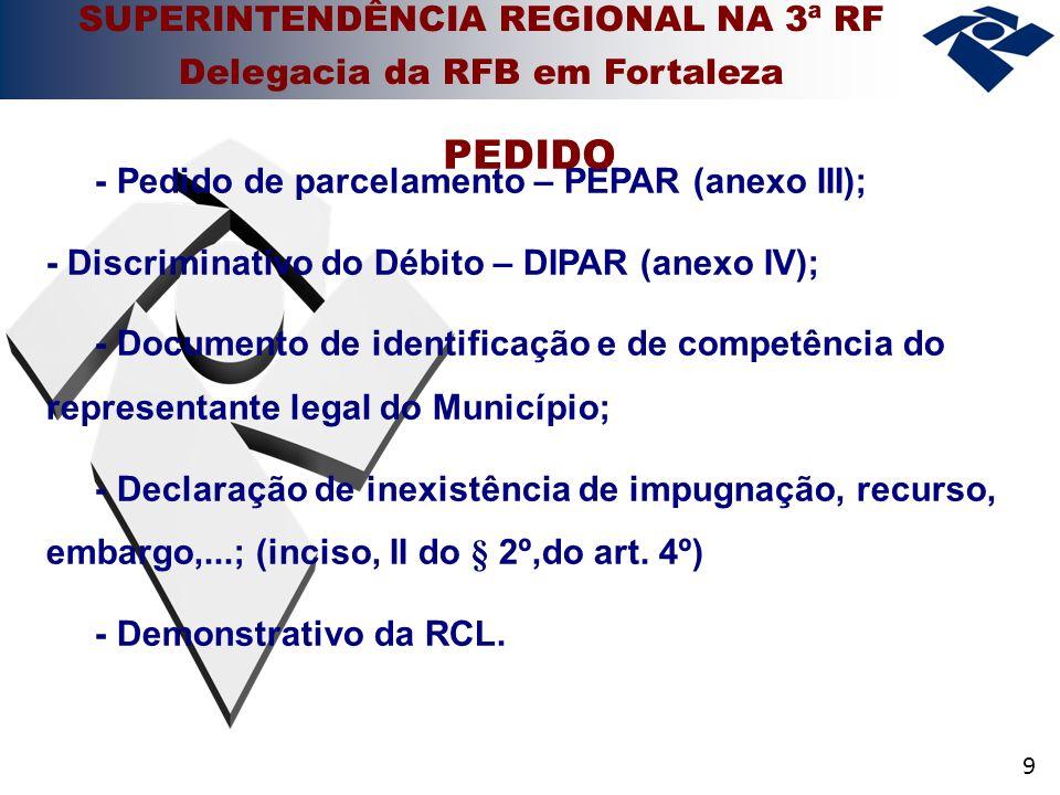 9 - Pedido de parcelamento – PEPAR (anexo III); - Discriminativo do Débito – DIPAR (anexo IV); - Documento de identificação e de competência do representante legal do Município; - Declaração de inexistência de impugnação, recurso, embargo,...; (inciso, II do § 2º,do art.