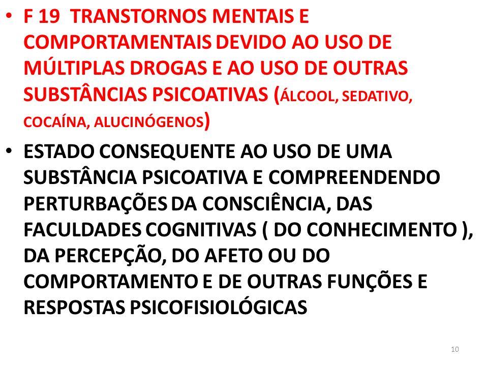 F 19 TRANSTORNOS MENTAIS E COMPORTAMENTAIS DEVIDO AO USO DE MÚLTIPLAS DROGAS E AO USO DE OUTRAS SUBSTÂNCIAS PSICOATIVAS ( ÁLCOOL, SEDATIVO, COCAÍNA, A