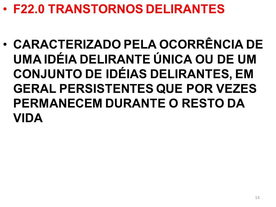F22.0 TRANSTORNOS DELIRANTES CARACTERIZADO PELA OCORRÊNCIA DE UMA IDÉIA DELIRANTE ÚNICA OU DE UM CONJUNTO DE IDÉIAS DELIRANTES, EM GERAL PERSISTENTES