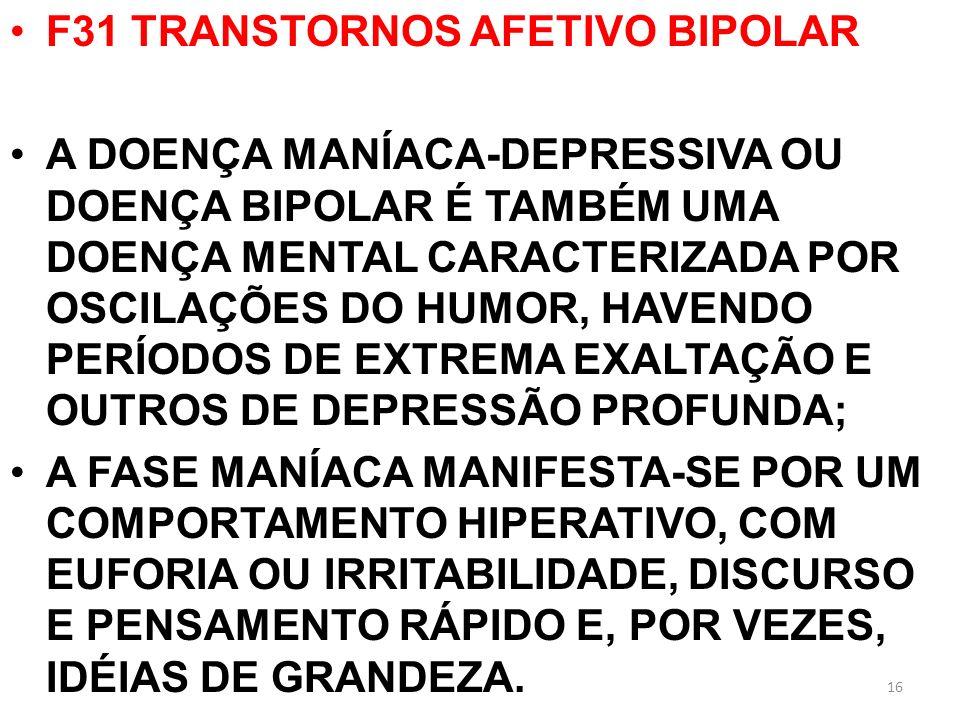 F31 TRANSTORNOS AFETIVO BIPOLAR A DOENÇA MANÍACA-DEPRESSIVA OU DOENÇA BIPOLAR É TAMBÉM UMA DOENÇA MENTAL CARACTERIZADA POR OSCILAÇÕES DO HUMOR, HAVEND