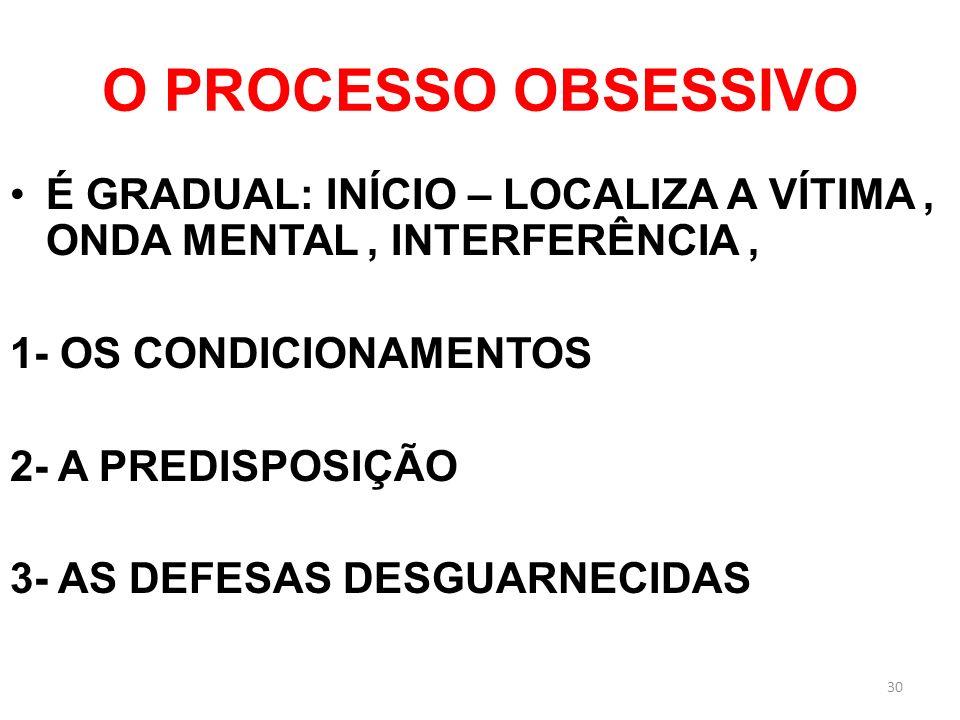 O PROCESSO OBSESSIVO É GRADUAL: INÍCIO – LOCALIZA A VÍTIMA, ONDA MENTAL, INTERFERÊNCIA, 1- OS CONDICIONAMENTOS 2- A PREDISPOSIÇÃO 3- AS DEFESAS DESGUA
