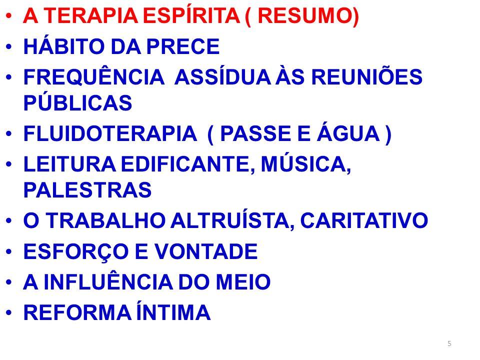 A TERAPIA ESPÍRITA ( RESUMO) HÁBITO DA PRECE FREQUÊNCIA ASSÍDUA ÀS REUNIÕES PÚBLICAS FLUIDOTERAPIA ( PASSE E ÁGUA ) LEITURA EDIFICANTE, MÚSICA, PALEST