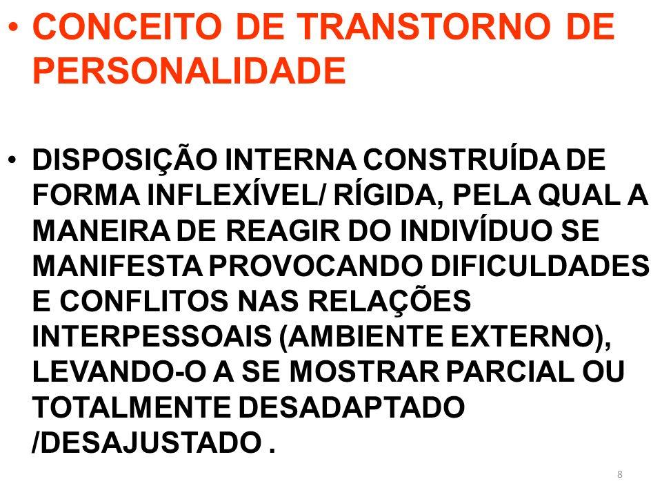 CONCEITO DE TRANSTORNO DE PERSONALIDADE DISPOSIÇÃO INTERNA CONSTRUÍDA DE FORMA INFLEXÍVEL/ RÍGIDA, PELA QUAL A MANEIRA DE REAGIR DO INDIVÍDUO SE MANIF