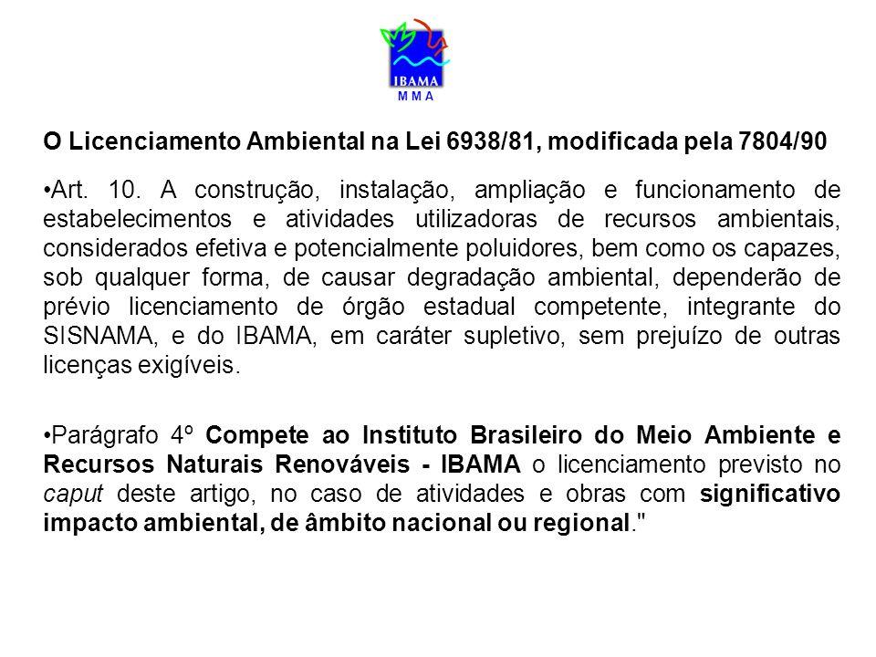 O Licenciamento Ambiental na Lei 6938/81, modificada pela 7804/90 Art. 10. A construção, instalação, ampliação e funcionamento de estabelecimentos e a