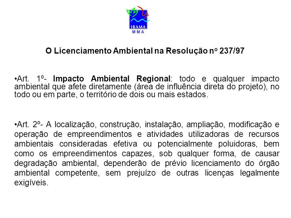 M M A O Licenciamento Ambiental na Resolução n o 237/97 Art. 1º- Impacto Ambiental Regional: todo e qualquer impacto ambiental que afete diretamente (