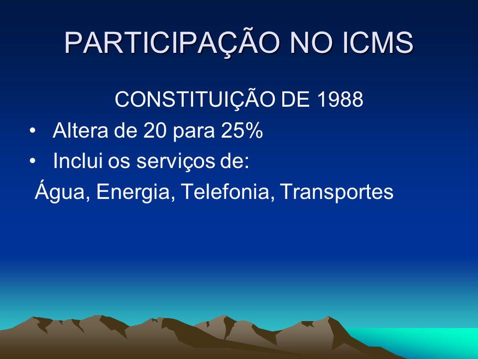 PARTICIPAÇÃO NO ICMS CONSTITUIÇÃO DE 1988 Altera de 20 para 25% Inclui os serviços de: Água, Energia, Telefonia, Transportes