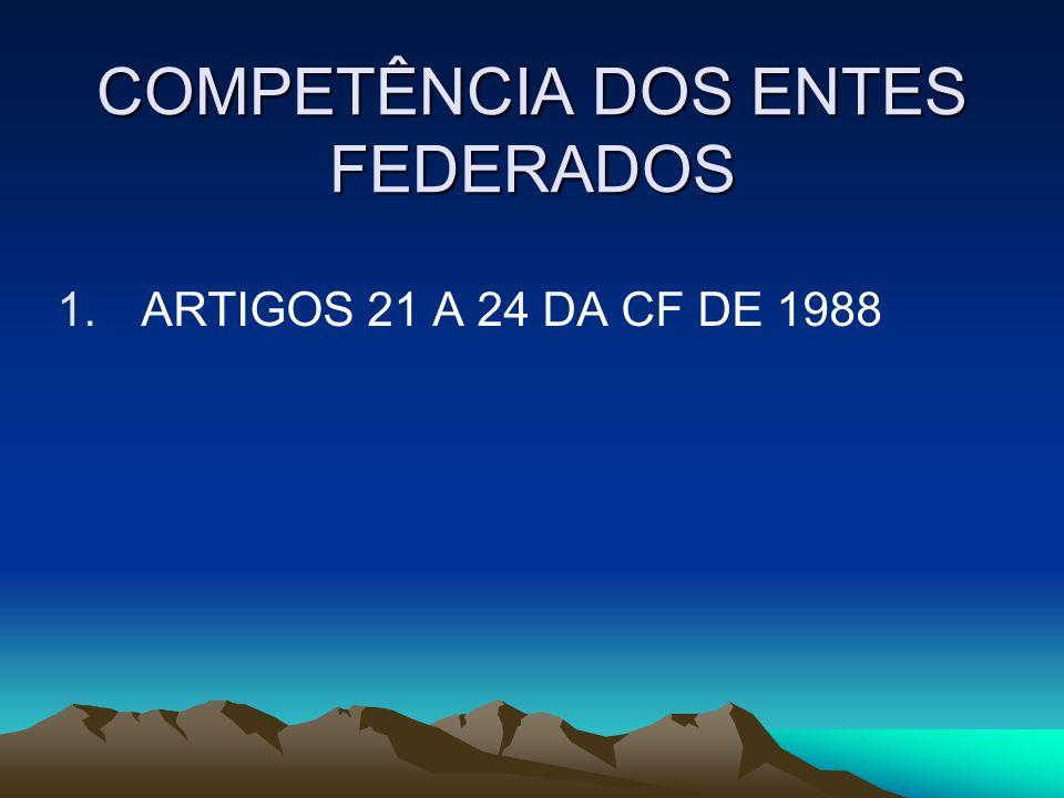 COMPETÊNCIA DOS ENTES FEDERADOS 1. ARTIGOS 21 A 24 DA CF DE 1988