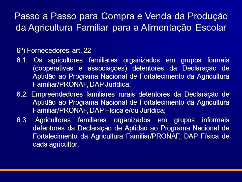 6º) Fornecedores, art. 22 6.1. Os agricultores familiares organizados em grupos formais (cooperativas e associações) detentores da Declaração de Aptid