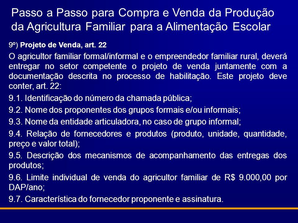 Passo a Passo para Compra e Venda da Produção da Agricultura Familiar para a Alimentação Escolar 9º) Projeto de Venda, art. 22 O agricultor familiar f