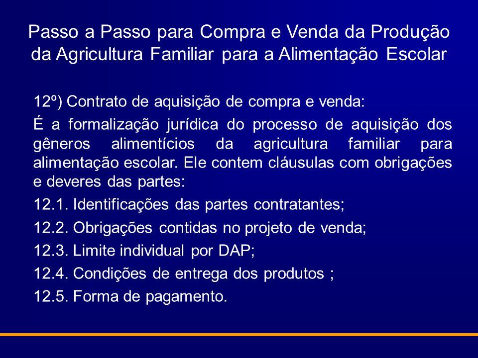 Passo a Passo para Compra e Venda da Produção da Agricultura Familiar para a Alimentação Escolar 12º) Contrato de aquisição de compra e venda: É a for