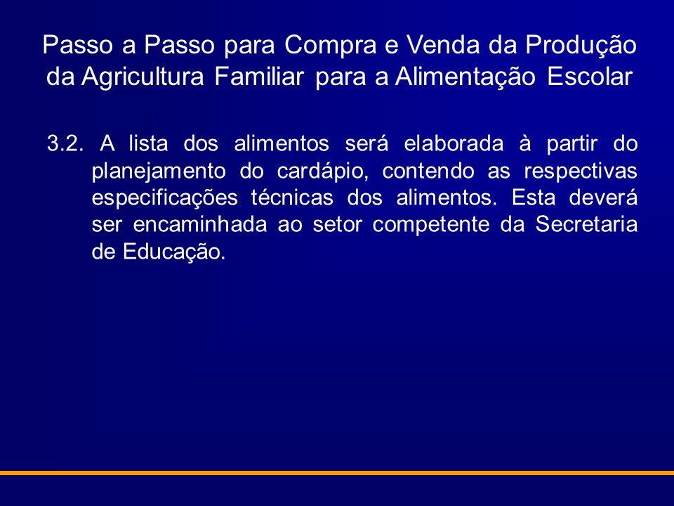 Passo a Passo para Compra e Venda da Produção da Agricultura Familiar para a Alimentação Escolar 3.2. A lista dos alimentos será elaborada à partir do