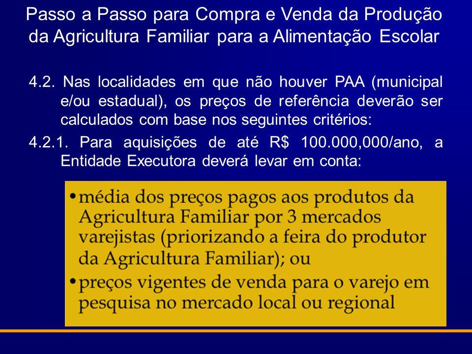 Passo a Passo para Compra e Venda da Produção da Agricultura Familiar para a Alimentação Escolar 4.2. Nas localidades em que não houver PAA (municipal