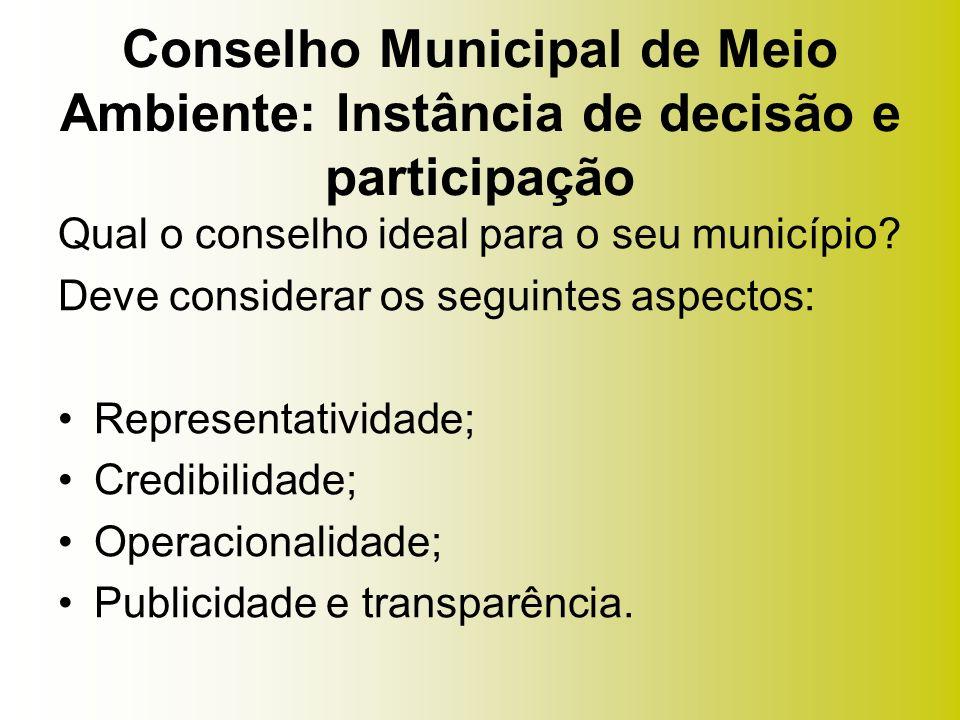 Qual o conselho ideal para o seu município? Deve considerar os seguintes aspectos: Representatividade; Credibilidade; Operacionalidade; Publicidade e