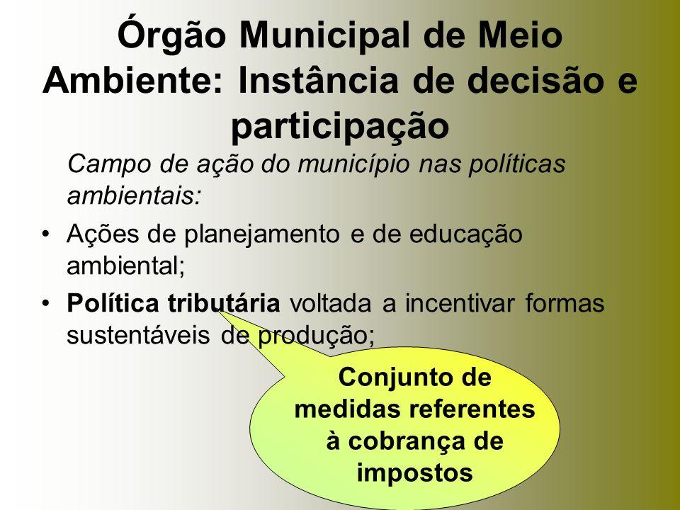 Campo de ação do município nas políticas ambientais: Ações de planejamento e de educação ambiental; Política tributária voltada a incentivar formas su