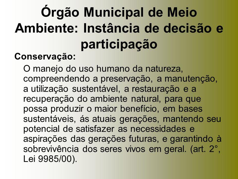 Conservação: O manejo do uso humano da natureza, compreendendo a preservação, a manutenção, a utilização sustentável, a restauração e a recuperação do