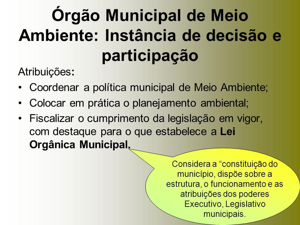 Atribuições: Coordenar a política municipal de Meio Ambiente; Colocar em prática o planejamento ambiental; Fiscalizar o cumprimento da legislação em v