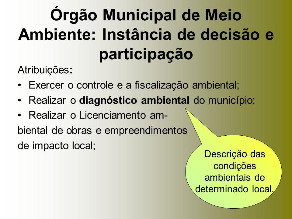 Atribuições: Exercer o controle e a fiscalização ambiental; Realizar o diagnóstico ambiental do município; Realizar o Licenciamento am- biental de obr