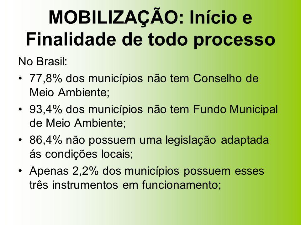 No Brasil: 77,8% dos municípios não tem Conselho de Meio Ambiente; 93,4% dos municípios não tem Fundo Municipal de Meio Ambiente; 86,4% não possuem um
