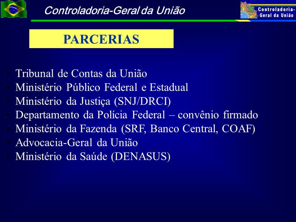 Controladoria-Geral da União Tribunal de Contas da União Ministério Público Federal e Estadual Ministério da Justiça (SNJ/DRCI) Departamento da Políci