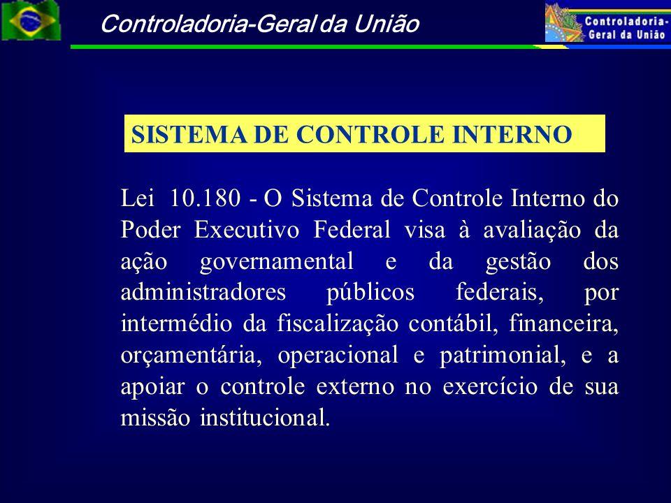 SISTEMA DE CONTROLE INTERNO Lei 10.180 - O Sistema de Controle Interno do Poder Executivo Federal visa à avaliação da ação governamental e da gestão d