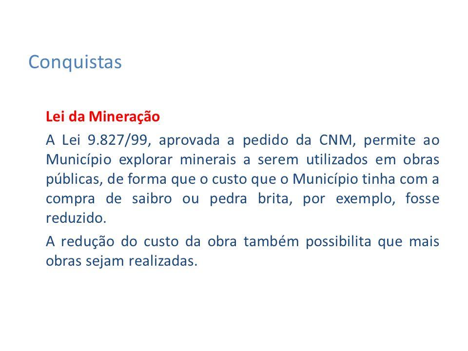 Lei da Mineração A Lei 9.827/99, aprovada a pedido da CNM, permite ao Município explorar minerais a serem utilizados em obras públicas, de forma que o custo que o Município tinha com a compra de saibro ou pedra brita, por exemplo, fosse reduzido.