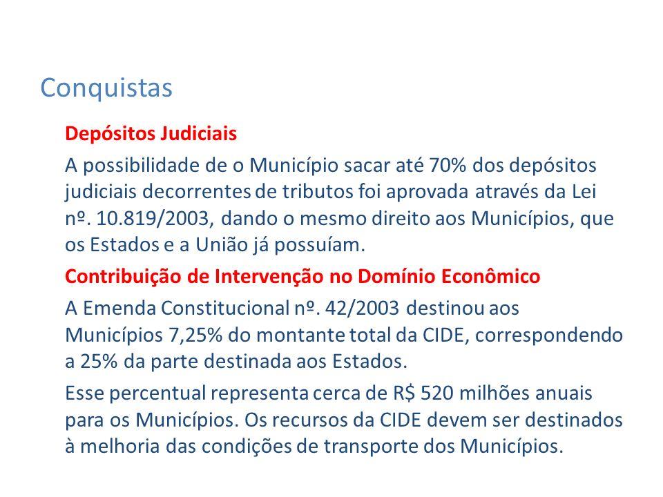 Depósitos Judiciais A possibilidade de o Município sacar até 70% dos depósitos judiciais decorrentes de tributos foi aprovada através da Lei nº.