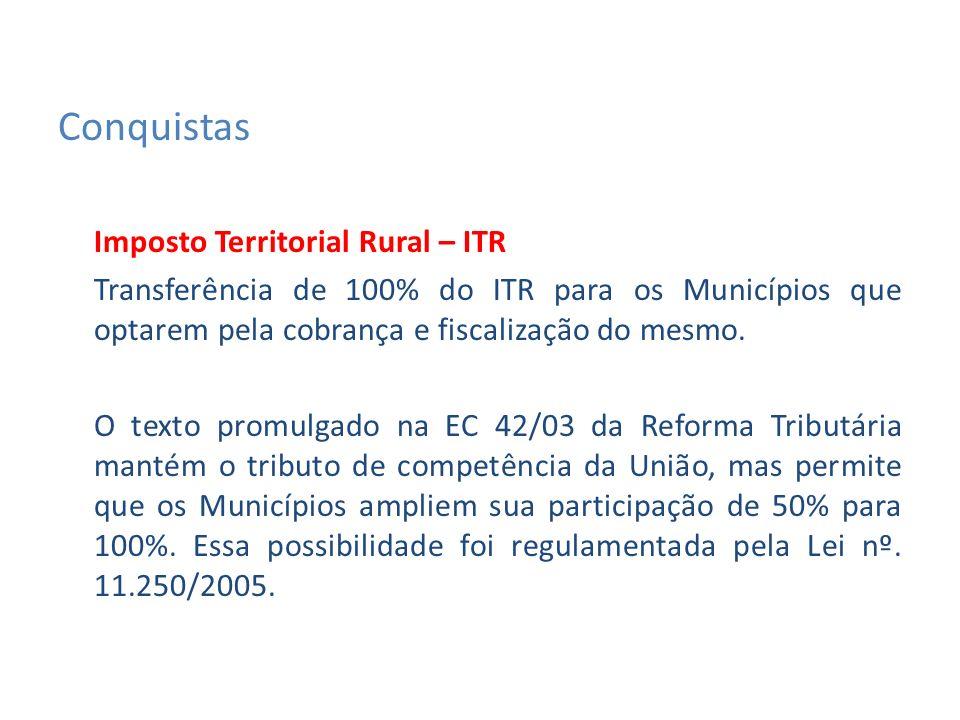 Imposto Territorial Rural – ITR Transferência de 100% do ITR para os Municípios que optarem pela cobrança e fiscalização do mesmo.