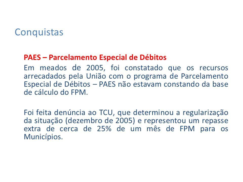 PAES – Parcelamento Especial de Débitos Em meados de 2005, foi constatado que os recursos arrecadados pela União com o programa de Parcelamento Especial de Débitos – PAES não estavam constando da base de cálculo do FPM.