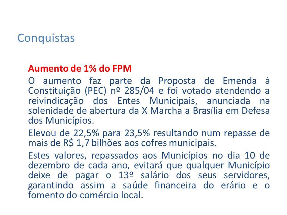 Aumento de 1% do FPM O aumento faz parte da Proposta de Emenda à Constituição (PEC) nº 285/04 e foi votado atendendo a reivindicação dos Entes Municipais, anunciada na solenidade de abertura da X Marcha a Brasília em Defesa dos Municípios.
