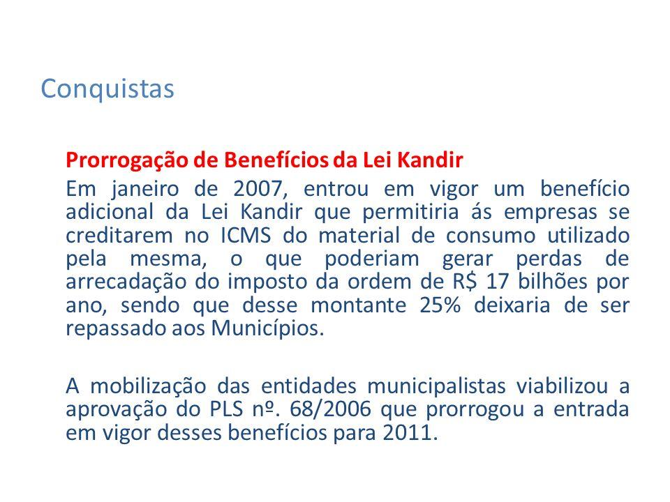 Prorrogação de Benefícios da Lei Kandir Em janeiro de 2007, entrou em vigor um benefício adicional da Lei Kandir que permitiria ás empresas se creditarem no ICMS do material de consumo utilizado pela mesma, o que poderiam gerar perdas de arrecadação do imposto da ordem de R$ 17 bilhões por ano, sendo que desse montante 25% deixaria de ser repassado aos Municípios.