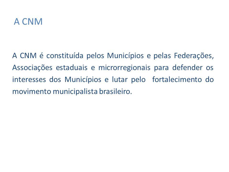 A CNM A CNM é constituída pelos Municípios e pelas Federações, Associações estaduais e microrregionais para defender os interesses dos Municípios e lutar pelo fortalecimento do movimento municipalista brasileiro.