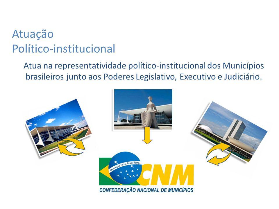 Atua na representatividade político-institucional dos Municípios brasileiros junto aos Poderes Legislativo, Executivo e Judiciário.