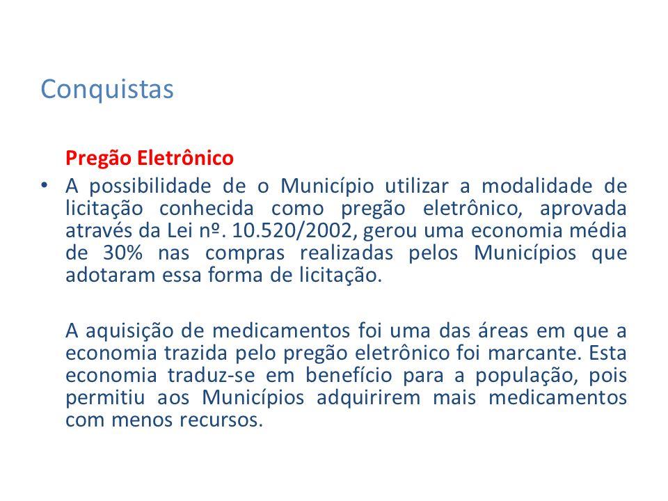 Conquistas Repasse direto do Salário-Educação Esta conquista é fruto de uma iniciativa do movimento municipalista liderado pela CNM junto ao Senado Federal, apoiada pelo Senador Álvaro Dias (PR), que apresentou o projeto em 2001.