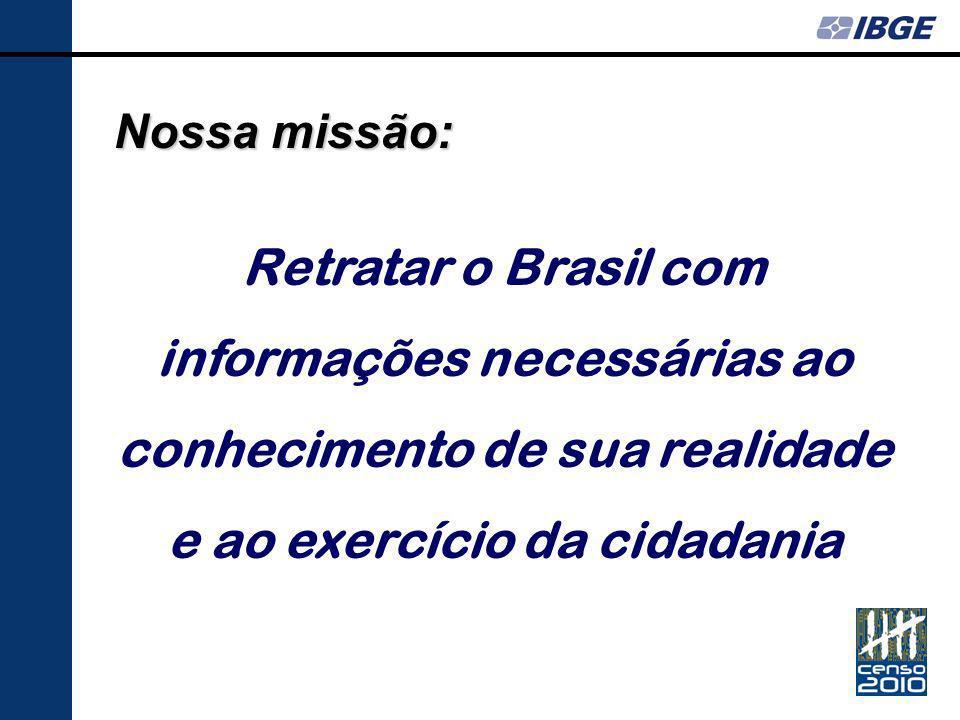 Nossa missão: Retratar o Brasil com informações necessárias ao conhecimento de sua realidade e ao exercício da cidadania