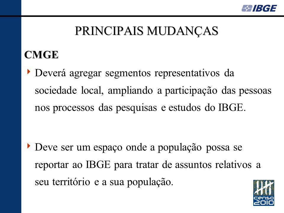 PRINCIPAIS MUDANÇAS CMGE Deverá agregar segmentos representativos da sociedade local, ampliando a participação das pessoas nos processos das pesquisas e estudos do IBGE.