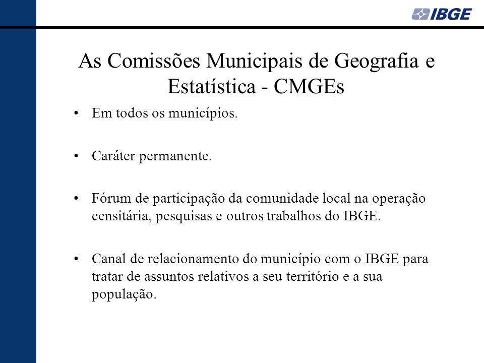 As Comissões Municipais de Geografia e Estatística - CMGEs Em todos os municípios.