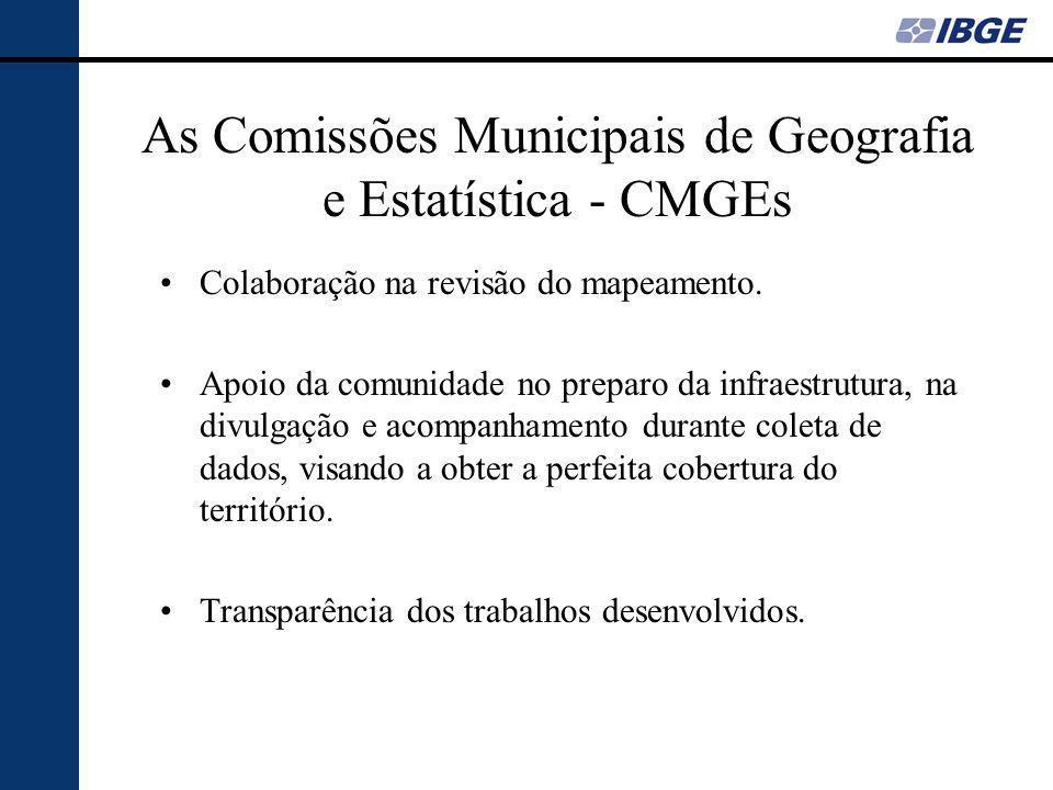 As Comissões Municipais de Geografia e Estatística - CMGEs Colaboração na revisão do mapeamento.