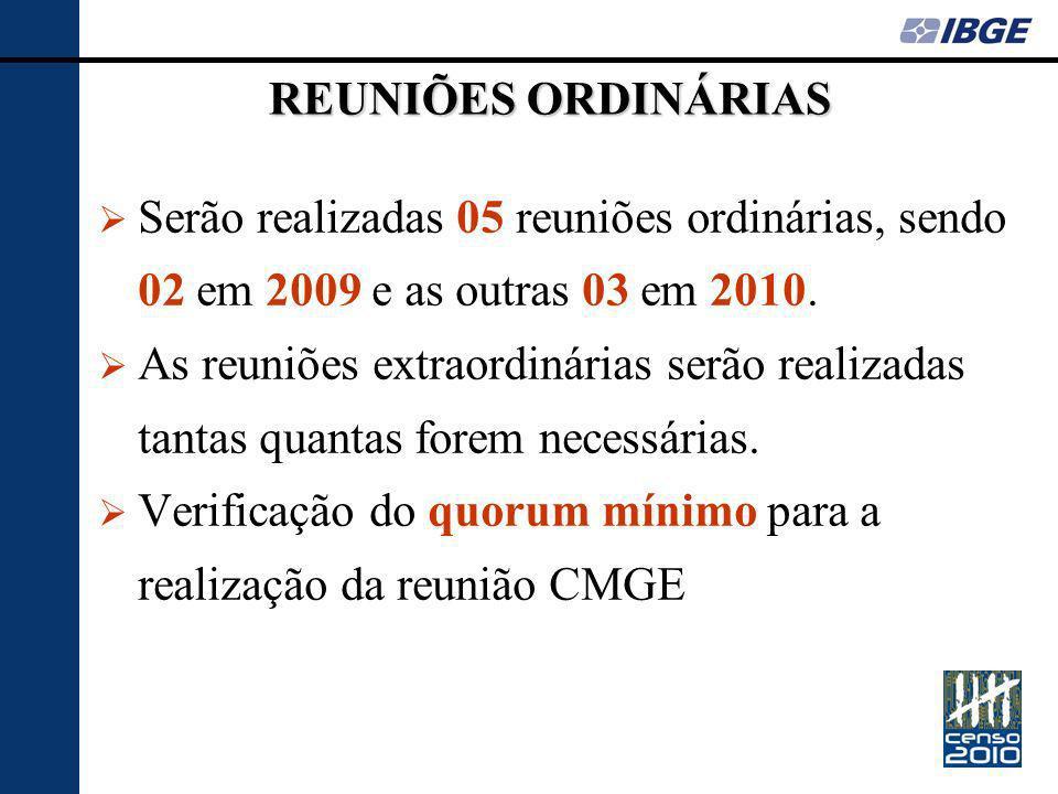 REUNIÕES ORDINÁRIAS Serão realizadas 05 reuniões ordinárias, sendo 02 em 2009 e as outras 03 em 2010.