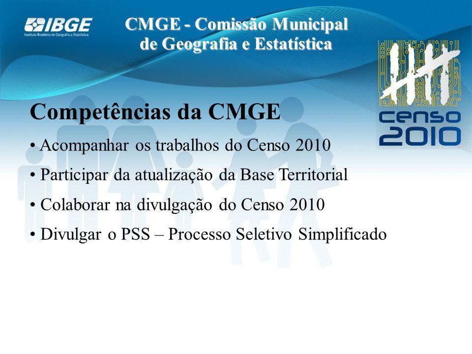 CMGE - Comissão Municipal de Geografia e Estatística Competências da CMGE Acompanhar os trabalhos do Censo 2010 Participar da atualização da Base Territorial Colaborar na divulgação do Censo 2010 Divulgar o PSS – Processo Seletivo Simplificado