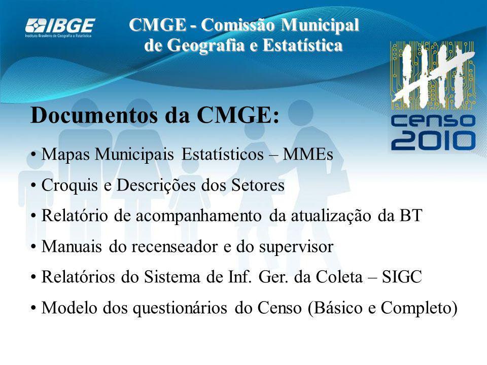 CMGE - Comissão Municipal de Geografia e Estatística Documentos da CMGE: Mapas Municipais Estatísticos – MMEs Croquis e Descrições dos Setores Relatório de acompanhamento da atualização da BT Manuais do recenseador e do supervisor Relatórios do Sistema de Inf.