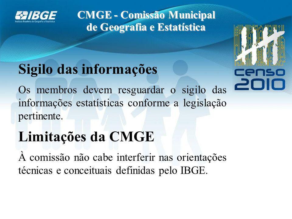 CMGE - Comissão Municipal de Geografia e Estatística Sigilo das informações Os membros devem resguardar o sigilo das informações estatísticas conforme a legislação pertinente.