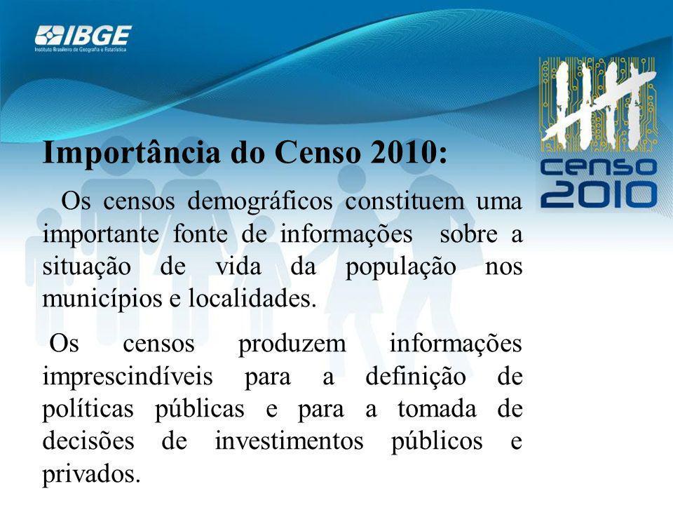 Importância do Censo 2010: Os censos demográficos constituem uma importante fonte de informações sobre a situação de vida da população nos municípios e localidades.